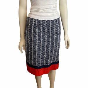 TALBOTS Red White Blue Polka Dot Cotton Skirt 10